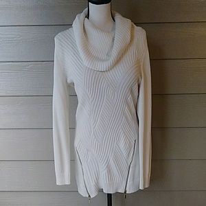 Long textured cowl neck sweater size large